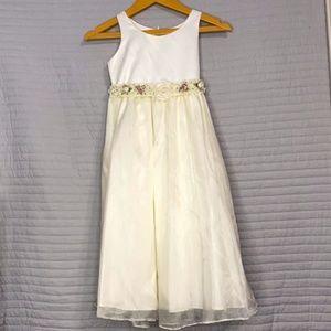 Girl's Cute Ivory Flower Dress